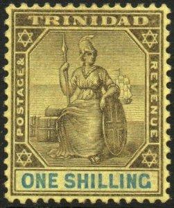 TRINIDAD-1904-09 1/- Black & Blue/Yellow Sg 141 MOUNTED MINT V48566