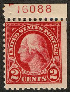 US #554a PLATE NUMBER SINGLE, VF/XF mint hinged,  bid high and often as it is...