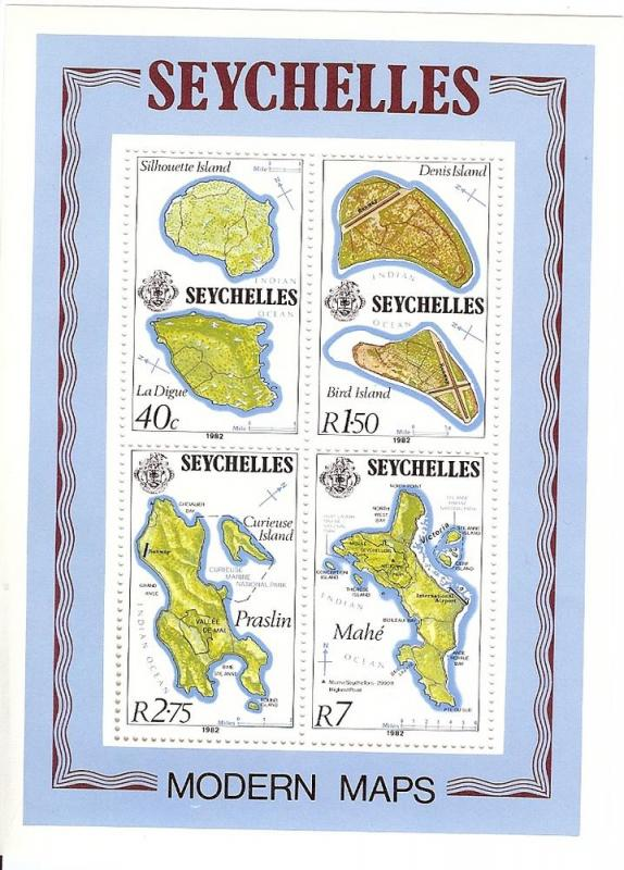 Seychelles MNH S/S 490a Island Maps 1982