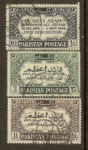 Pakistan, Scott #44-46, Mohammed Ali Jinnah, Used