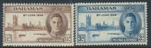 Bahamas  SG 176 -177 SC# 130 -131 MH Victory 1946