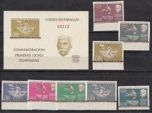 Paraguay Scott 736-743, 743a Mint NH imperf