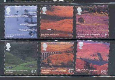 Great Britain Sc 2141-6 2003 Scottish Scenery stamp set mint NH