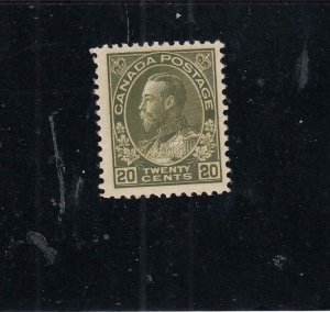 CANADA  # 119  VF-MNH  20cts 1925 / KGV ADMIRAL / OLIVE GREEN CAT VALUE $480