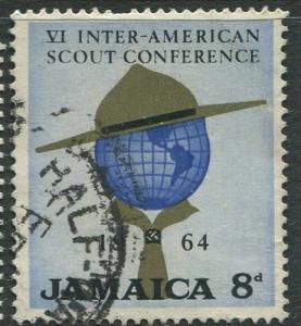 Jamaica -Scott 234- Scout Hat & Globe-1964 - Used - Single 8p Stamp