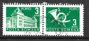 Romania J127: 3b General Post Office and Post Horn, CTO, F-VF