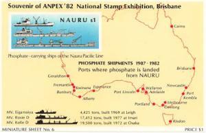 Nauru - 1982 $6 Phosphate Souvenir Sheet Imperf Proof Sheet