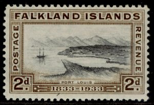 FALKLAND ISLANDS SG130, 2d black and brown, M MINT. Cat £17.