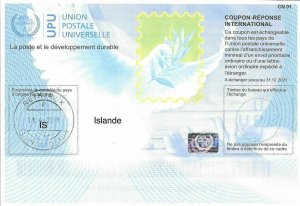 ICELAND - (IRC) INTERNATIONAL REPLY COUPON (exp. 31.12.2021) (POSTMARKED), MNH