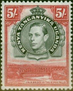 K.U.T 1944 5s Black & Carmine SG148b P.13.25 x 13.25 Fine Very Lightly Mtd Mint