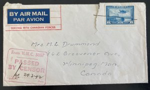 1942 Canadian Army Forces Post Office Airmail Cover To Winnipeg Canada WW2