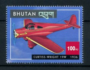 [101630] Bhutan 2000 Aviation aircraft Curtiss Wright 19W From sheet MNH