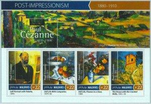 A0996 - MALDIVES, ERROR, MISPERF, Miniature sheet: 2015, Paul Cézanne, Art