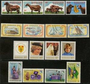 BARBADOS Sc#566-9, 577-80, 585-93 1982 Four Complete Sets & 1 S/S OG Mint Hinged