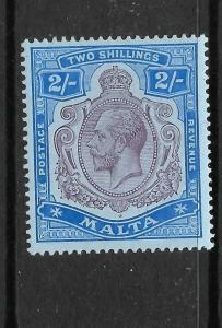 MALTA  1914-21  2/-   KGV  MLH  SG 86