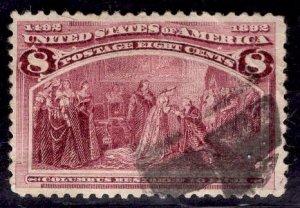 US Stamp #236 8c Columbian USED SCV $10.00