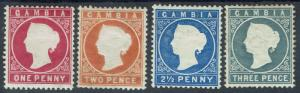 GAMBIA 1886 QV CAMEO 1D 2D 21/2D AND 3D WMK CROWN CA