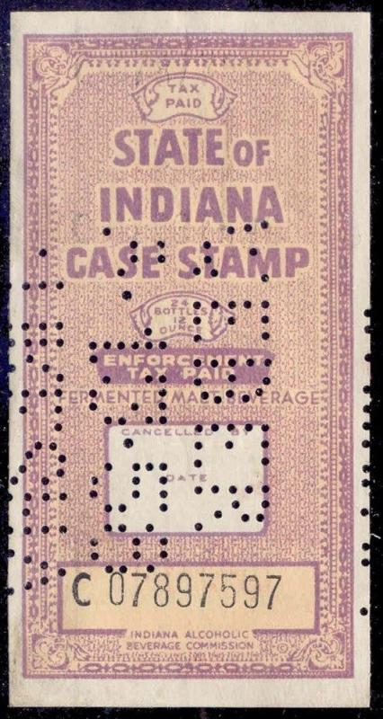 Indiana State Revenue Stamp 24 /12 oz  Beer Tax # B?