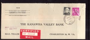 US Summersville,WV to Charleston,WV 1959 Certified Mail Cover