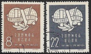 People's Republic of China 317-318 Used - 4th Intl. Trade Union Cong.Leipzig