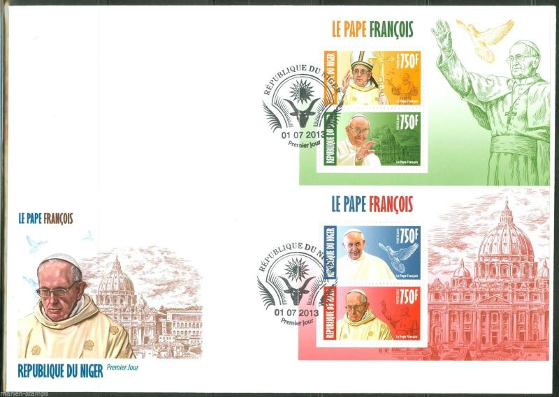 NIGER 2013 POPE FRANCIS SET OF TWO SHEETS OF TWO STAMPS EACH   FIRST DAY COVER