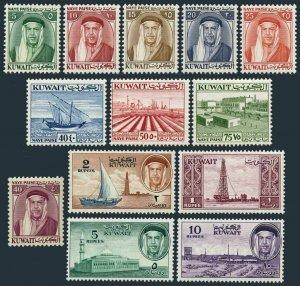 Kuwait 140-152, MNH. Mi 133-142. Sheik Abdulah, Dhow, Mosque,Oil plant at Bargan