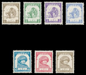 Burma Japaneses Occ 1943 KGVI set complete MLH. SG J98-J104. Sc 2N51-57.