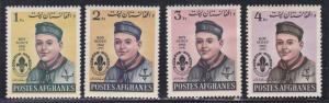 Afghanistan # 623-626, Boy Scouts, Heavy Hinged,