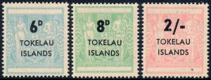 Tokelau Islands 1966 Postal Fiscal New Zealand Surcharged Set of 3 SG6-8 MH