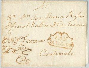 51085 - EL SALVADOR - POSTAL HISTORY - PREFILATTELIC COVER: Cloud POSTMARK 1800s