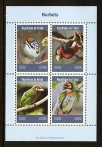 CHAD  2019  BARBETS  SHEET OF FOUR  MINT NH