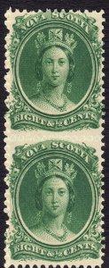 1860-3 Canada Nova Scotia Queen Victoria QV 8½¢ Vert Pair MNH Sc# 11 CV $40 #2