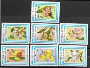 Laos 1985 Orchids SC# 637-643 MNH