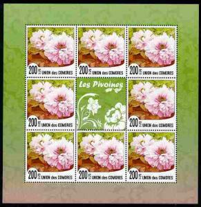 Comoro Islands 2009 Flowers of China - Peonies perf sheet...