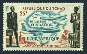 Chad C7,MNH.Michel 87. Air Africa 1962.Modern and Ancient Africa.Plane,Map,Sheep