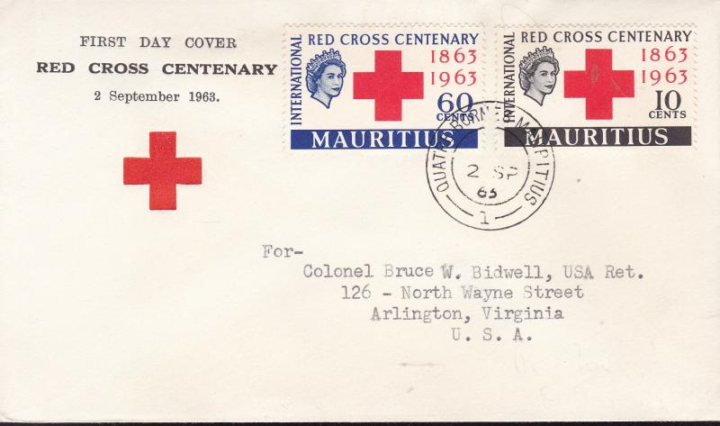 Mauritius 1963 Red Cross Centenary First Day Cover Typed Address  VF