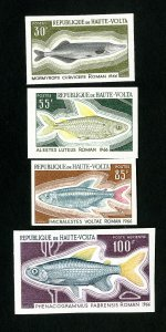 Upper Volta Stamps # 196-8 +C66 Scarce fish imperf NH