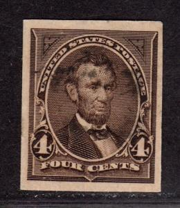 $US Sc#222P3 used/VF, Plate Proof on Inda Paper, Cv. $35