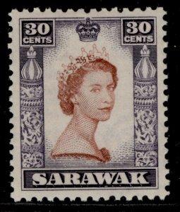 SARAWAK QEII SG198, 30c red-brown & deep lilac, M MINT.