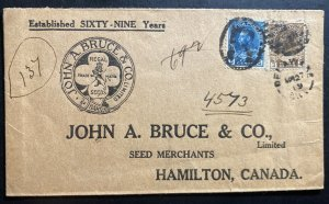 1919 Delaware Canada Advertising Cover To Hamilton Bruce Seeds