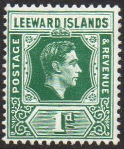 Leeward Islands 1949 1d blue-green MH