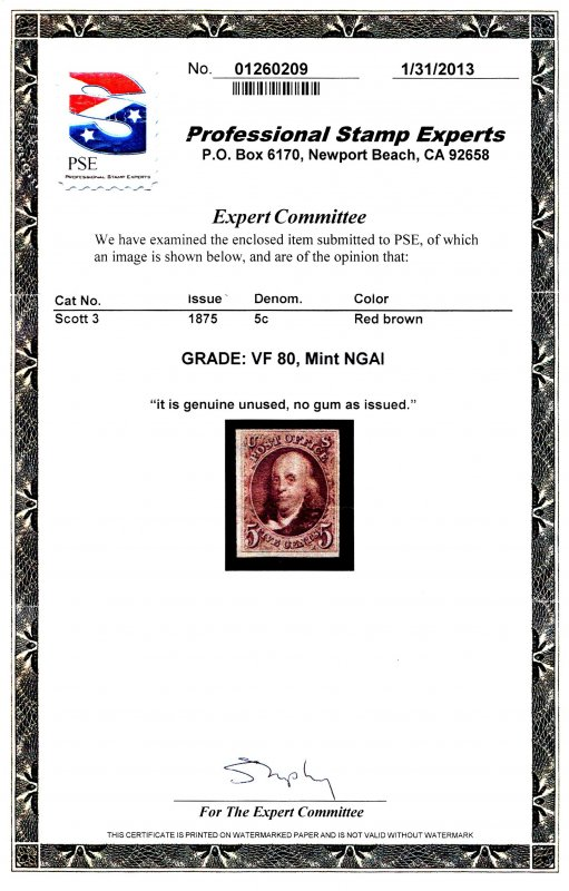 U.S. #3 MINT with PSE Graded Cert VF 80 NGAI