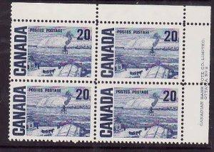 Canada-Sc#464-Unused NH 20c The Ferry Centennial-UR plate block #2-PVA gum-1972-