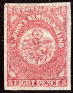 24, NSSC, Newfoundland, 8d, eight pence, rose lake,MLHOG, VF/XF, Scott 22
