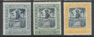 Barbados Sc 102, 103, 105, MLH. 1907 Lord Nelson statue, 3 diff from set, fresh