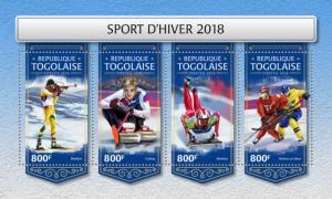 TOGO- 2018 - Winter Sports 2018 - Perf 4v Sheet - MNH