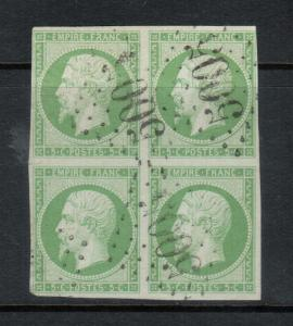 France #13 (Y & T #12) Very Fine - Extra Fine Used Block **With Certificate**