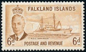 Falkland Islands 1952 6d Bistre-Brown SG178 MH