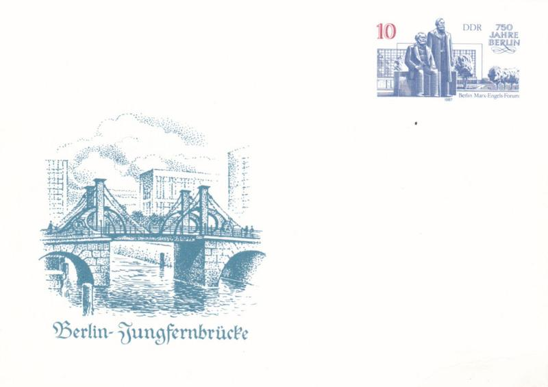 East Germany 1987 Jungfernbrucke 10pfg Prepaid Postcard Unused VGC