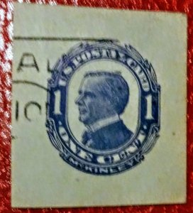 USA UX21 UPSS# S28 1c William McKinley, Blue on bluish, used cut square